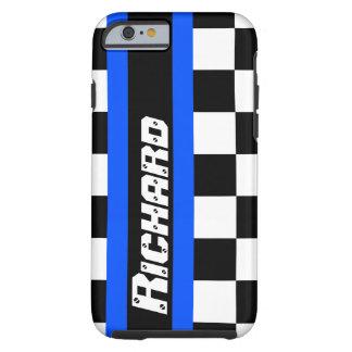 För flaggamönster för Auto sportar rutigt namn Tough iPhone 6 Case