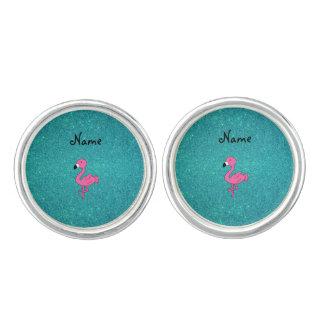 För flamingoturkos för personlig känt rosa glitter manschettknappar