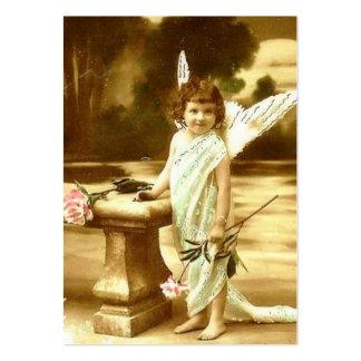 För flickaängel för vintage gulligt kort set av breda visitkort