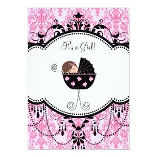För flickadusch för rosor svart damastast 12,7 x 17,8 cm inbjudningskort