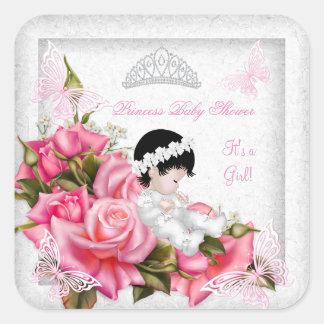 För flickafjäril för Princess baby shower rosa ros Fyrkantigt Klistermärke