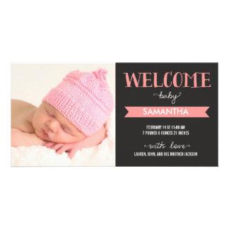 För flickafödelse för chic välkommet meddelande fotokort