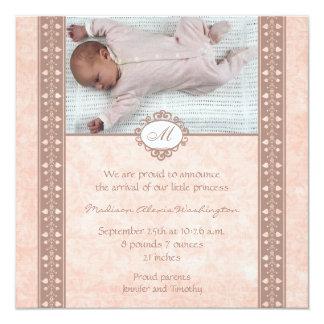 För flickafödelse för vintage mauve urblektt fyrkantigt 13,3 cm inbjudningskort