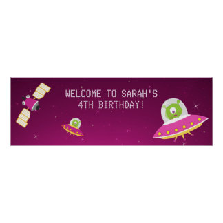 För flickafödelsedagsfest för rymden främmande poster