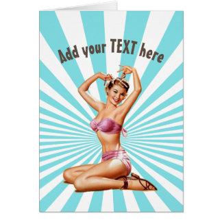 för flickahälsning för vintage retro kort, sexig hälsningskort