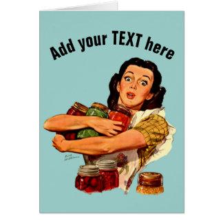 för flickahälsningen för vintage det retro kortet hälsningskort