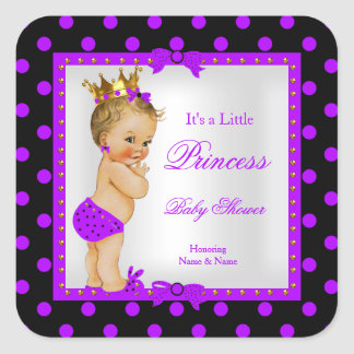 För flickalilor för Princess baby shower blondin Fyrkantigt Klistermärke