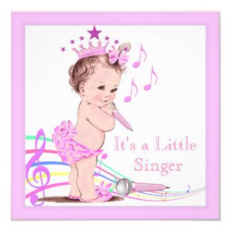 För flickarosor för sjungande baby shower gullig fyrkantigt 13,3 cm inbjudningskort