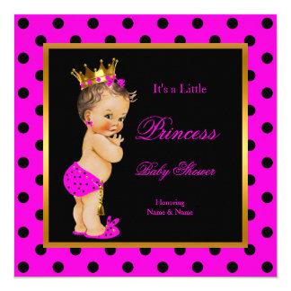 För flickashock rosa för Princess baby shower Fyrkantigt 13,3 Cm Inbjudningskort