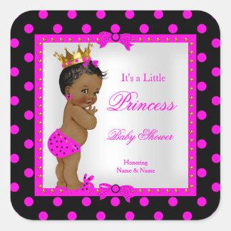 För flickashock rosa för Princess baby shower Fyrkantigt Klistermärke