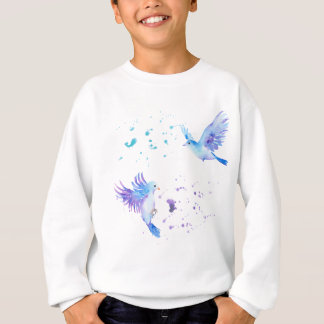 För flygblått för vattenfärg abstrakt fåglar t shirts