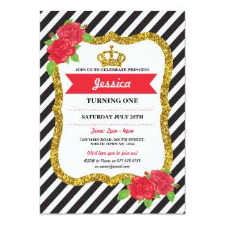 För Födelsedag för Princess Guld Kröna Stigning 12,7 X 17,8 Cm Inbjudningskort