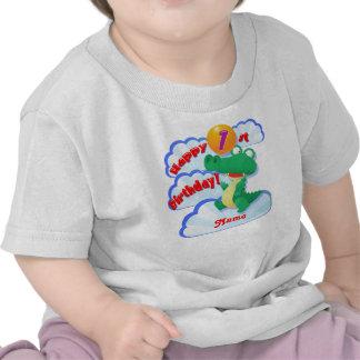 För födelsedagalligator för lycklig 1st ballong t shirt