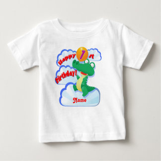För födelsedagalligator för lycklig 1st ballong t-shirts
