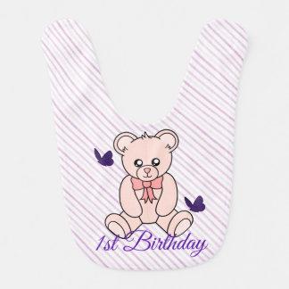 För födelsedagbaby för rosa björnar 1st haklapp hakklapp