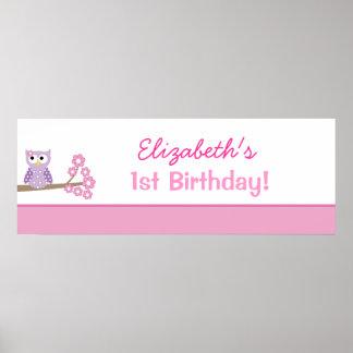 För födelsedagbaner för purpurfärgad uggla poster