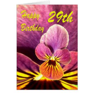 För födelsedagblomma för lycklig 29th Pansy Hälsningskort
