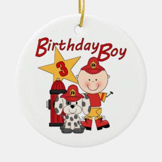 För födelsedagbrandman för pojkar 3rd födelsedag rund julgransprydnad i keramik
