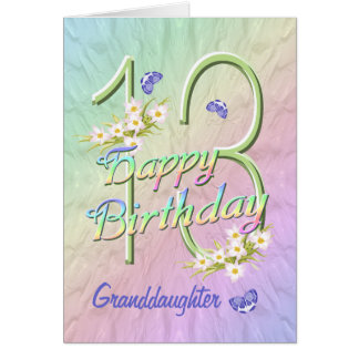 För födelsedagfjäril för sondotter 13th kort för