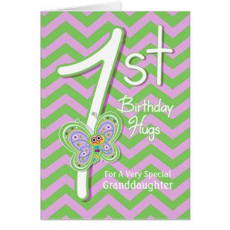 För födelsedagfjäril för sondotter 1st kramar hälsningskort