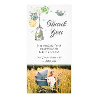 För födelsedagflickor för tackkort 1st mall fotokort