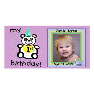 För födelsedagfoto för anpassningsbar 1st kort fotokort