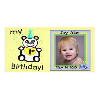 För födelsedagfoto för anpassningsbar 1st kort anpassade foto kort