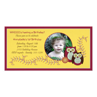 För födelsedagfoto för Cheery ugglor 1st kort - gu Fotokort