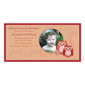 För födelsedagfoto för Retro ugglor 1st kort Fotokort