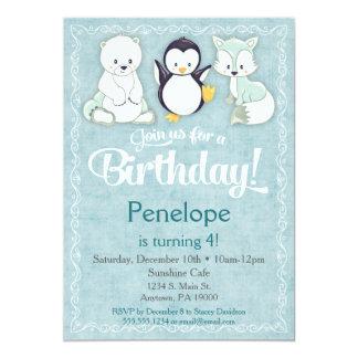 För födelsedaginbjudan för vinter djur pingvin för 12,7 x 17,8 cm inbjudningskort