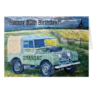 För födelsedagkort för lycklig 80th ❤️ för GRANDAD Hälsningskort