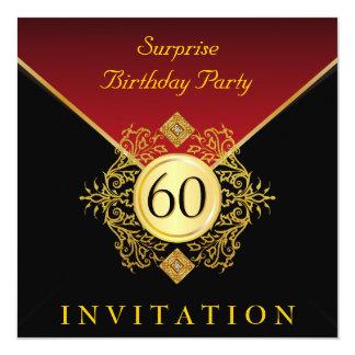 För födelsedagöverrrakning för guld svart kungligt fyrkantigt 13,3 cm inbjudningskort