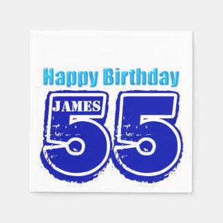 För födelsedagpersonlig för lycklig 55th servetter