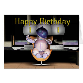 För födelsedagrobot för lycklig 11th katt hälsningskort