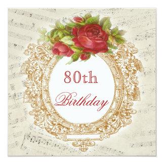 För födelsedagröd ros för vintage 80th lakan för fyrkantigt 13,3 cm inbjudningskort
