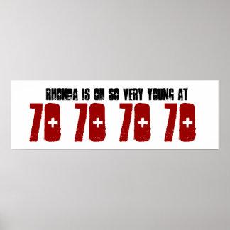 För födelsedagsfestbaner för barn 70th Grunge Z60C Poster