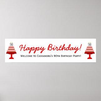 För födelsedagsfestbaner för röd tårta 90:e affisc poster