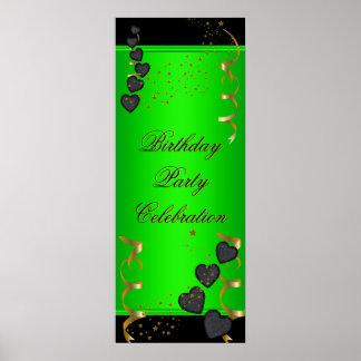 för födelsedagsfestfirande för baner 1big grönt fö poster