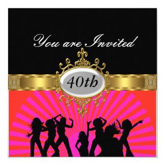 För födelsedagsfestglamour för disko svart fyrkantigt 13,3 cm inbjudningskort