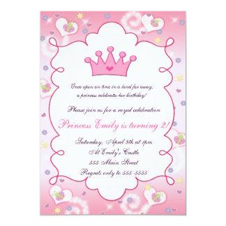 För födelsedagsfestkrona för Princess Inbjudan