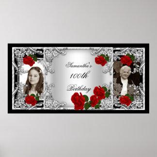 För födelsedagsfeströd ros för foto 100. silver poster