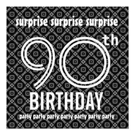 För födelsedagsfestsvart för ÖVERRRAKNING 90:e dia Kort För Inbjudningar