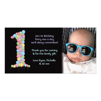 För födelsedagsfesttack för babyar 1st kort för fo