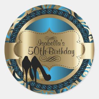 För födelsedagsvart för blått abstrakt högklackar runt klistermärke