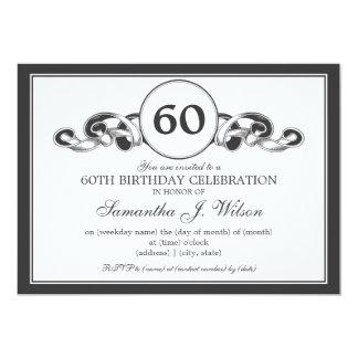 För födelsedagSwirly för elegant 60th svart band 12,7 X 17,8 Cm Inbjudningskort