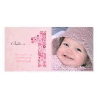 För födelsedagtack för babyar 1st kort för foto hälsningskort med foto