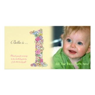 För födelsedagtack för babyar 1st kort för foto fotokort mall