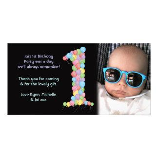 För födelsedagtack för babyar 1st kort för foto