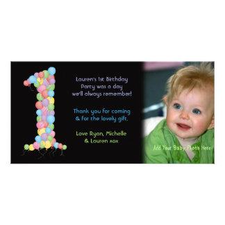 För födelsedagtack för babyar 1st kort för foto fotokort