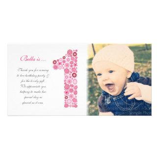 För födelsedagtack för flickor 1st kort för foto fotokort